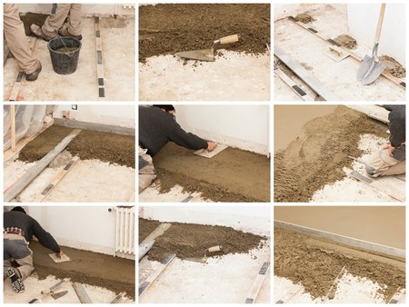a mason make a cement screed photo
