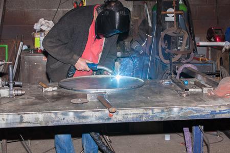 welded: welded steel iron metal Stock Photo