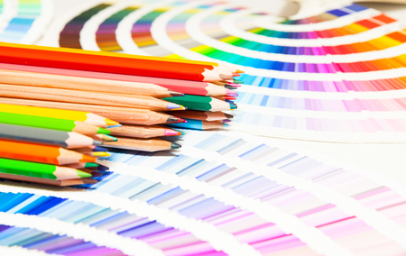 pencil and paper: colored pencils and color chart of all colors