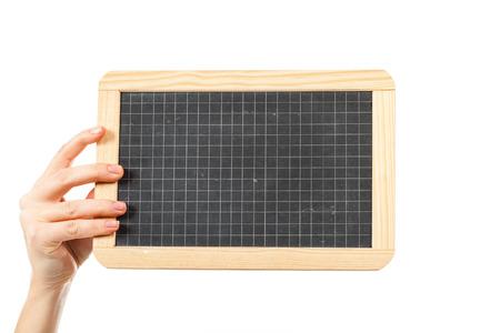 womans hands: womans hands holding a blackboard publicity