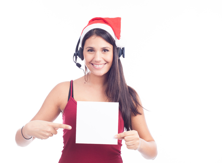 Christmas phone operator woman showing blank signboard Stock Photo