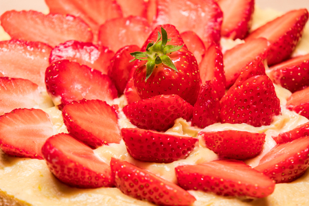 homemade strawberry cake in a red dish Stock Photo