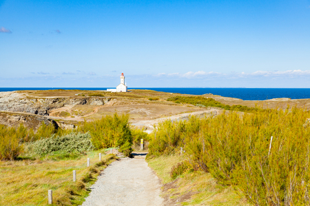 """The lighthouse """"Poulains"""" of the famous island Belle Ile en Mer in France Stock Photo"""