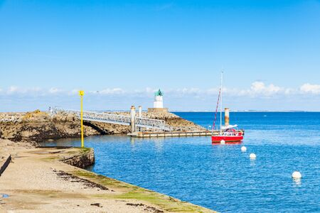 Port of Sauzon in France on the island Belle ile en Mer in the Morbihan Stock Photo