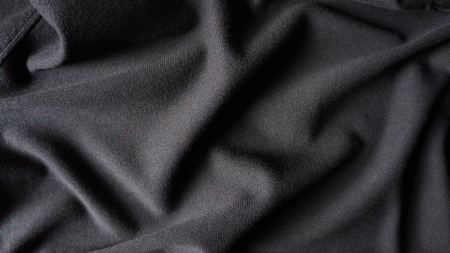 Black Rippled Cotton Woven Texture Background