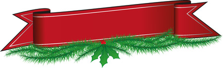 Christmas Banner with Holly Berries and Pine Needles Garland Illustration 일러스트