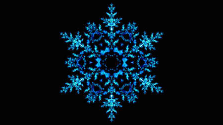 A digital illustration of a winter blue ice snowflake pattern in bokeh lights effect.
