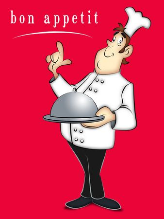 fine cuisine: Cartoon chef holding covered tray of food