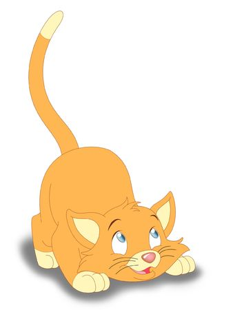 Cartoon orange kitten being playful