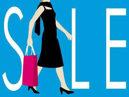 Sale sign with walking lady carrying shopping bag photo
