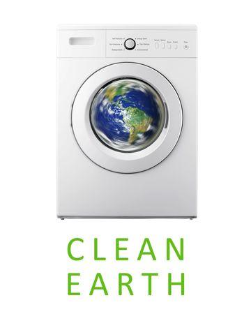 Planet earth inside washing machine Standard-Bild