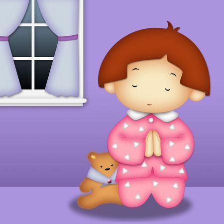 Praying girl wearing pink pajamas praying in her room photo