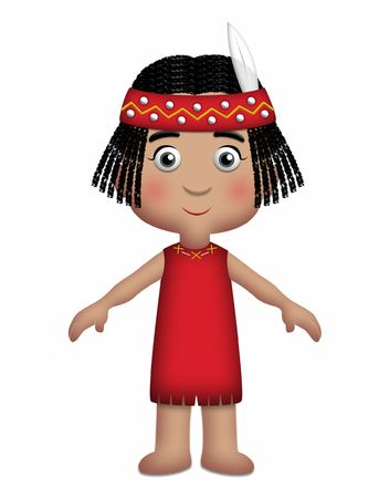 national costume: American Indian Girl wearing traditional red outfit.