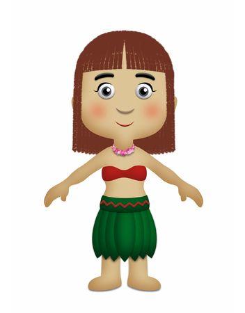 national geographic: Hawaiian girl wearing grass skirt made of leaves.