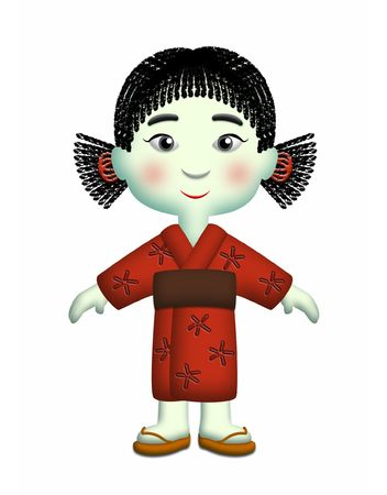 ponytails: Japanese girl wearing red kimono and side ponytails.