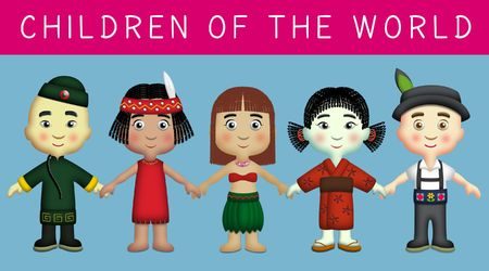 Children of different countries in their national costumes 版權商用圖片