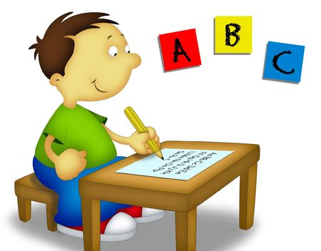 Little boy sitting and writing the alphabet