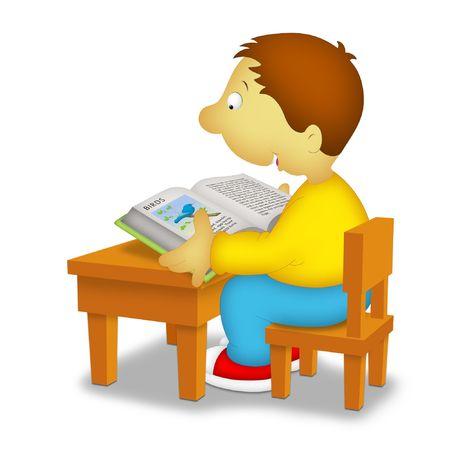 reviews: Boy sitting in front of desk reading a book about birds. Stock Photo