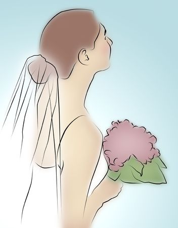 veiled: Colored line drawing of bride holding a bouquet.
