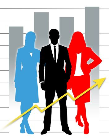 Silhouette of career people with business graph. Фото со стока