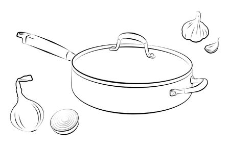 Drawing of cooking pan with onion and garlic. photo