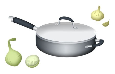 gastronomic: Drawing of cooking pan with onion and garlic. Stock Photo