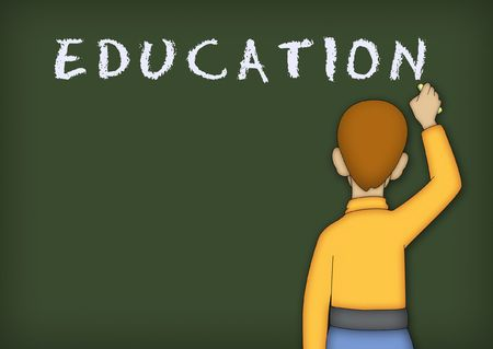 Boy in yellow shirt writing the word EDUCATION on blackboard. Stock Photo - 8020966