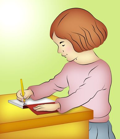 Girl sitting writing in her notebook. photo