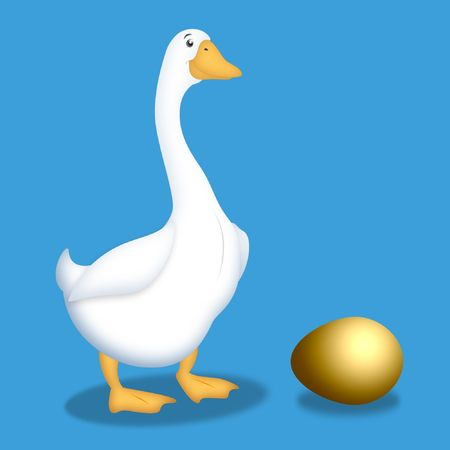 Cartoon goose with golden egg next to her. 版權商用圖片