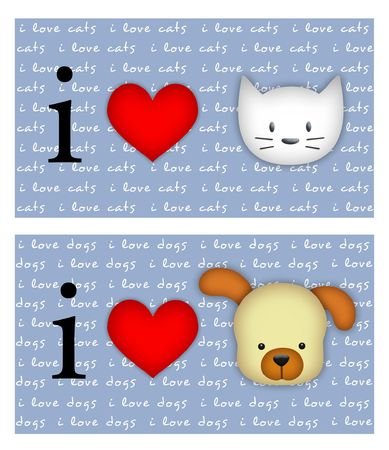 I love cats/dogs signs on blue background with