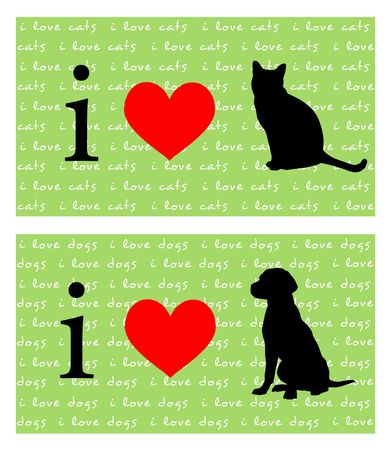 I love catsdogs signs on green background with  photo