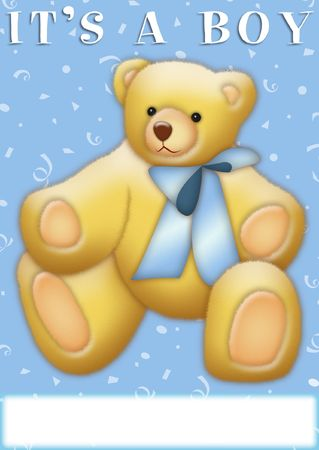 It's a Boy announcement with teddy bear Stock Photo - 8021002