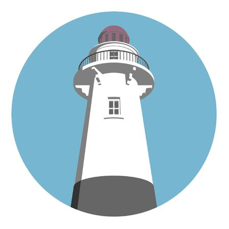 guiding light: Round lighthouse logo in blue, white and gray.