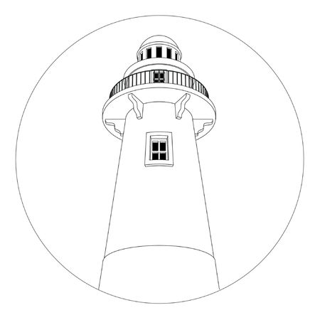ship storm: Round lighthouse logo in black and white. Stock Photo