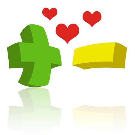 opposites: Green plus sign with yellow minus sign and hearts. Stock Photo
