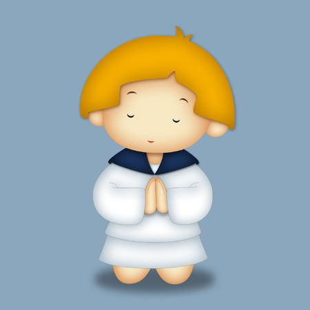 Praying girl wearing navy style dress. photo