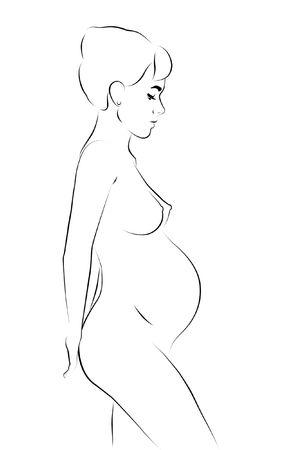 Resumen de dibujo de l�neas de la mujer embarazada.  Foto de archivo - 8020983