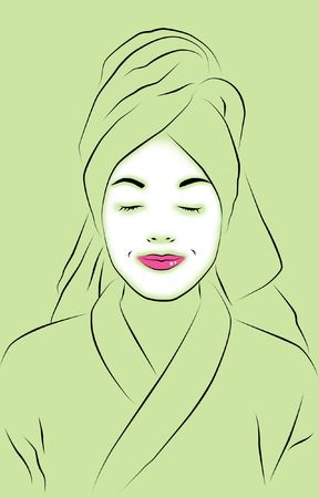 pamper: Abstract for spa with woman wearing facial mask.