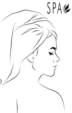 Abstract for spa with profile of a woman wearing towel on her head.