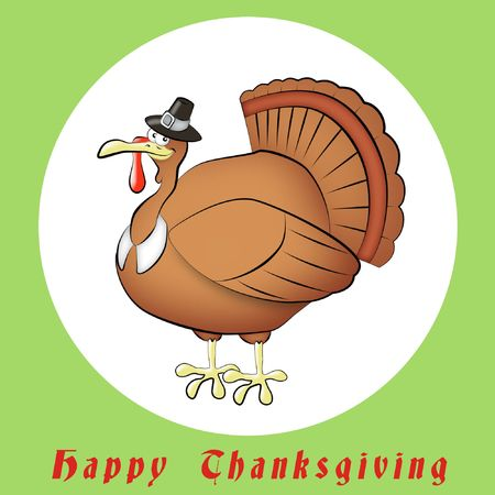 pilgrim hat: Cartoon of Thanksgiving turkey wearing pilgrims hat.