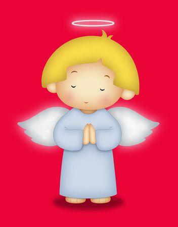 Angel with yellow hair praying. photo