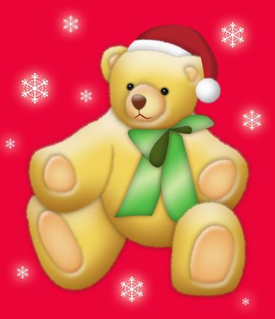 Teddy bear wearing Santa hat on red background with snow flakes. photo