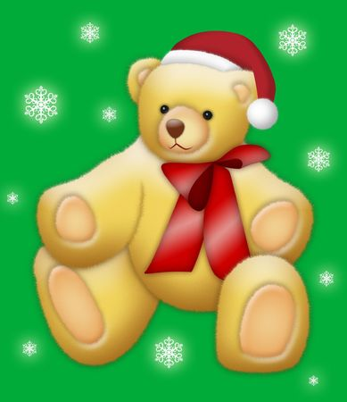 Teddy bear wearing Santa hat on green background with snow flakes. photo