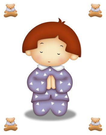 Praying child wearing lavander pajamas. photo