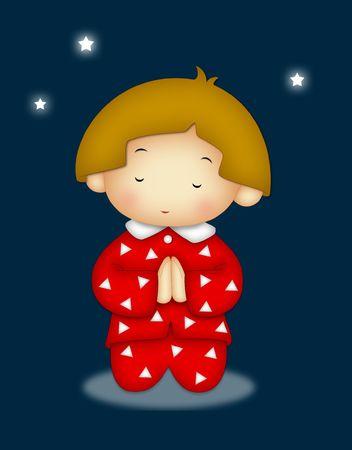 Praying child wearing red pajamas. Standard-Bild