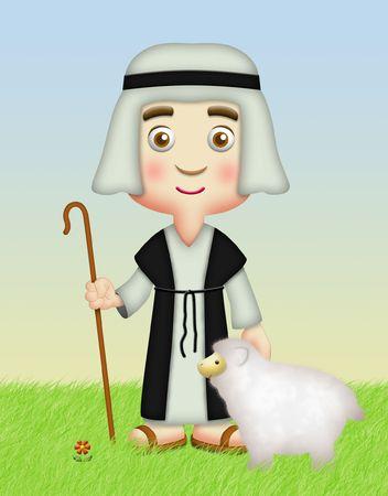 Pastor sosteniendo bastón con ovejas.  Foto de archivo - 8066098