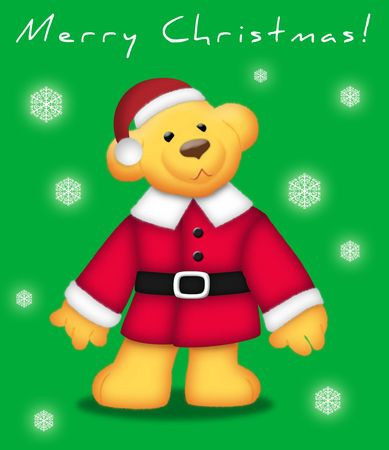 Teddy bear wearing Santa outfit on green background. photo