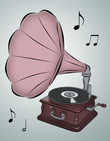 Line drawing of phonograph with musical notes. Фото со стока