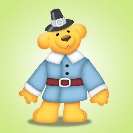 Thanksgiving teddy bear wearing pilgrims clothes.