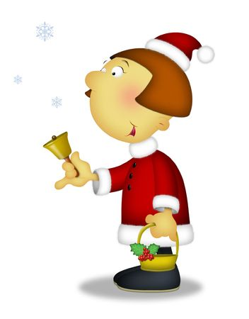 caroling: Girl in Santa outfit holding bell and basket. Stock Photo